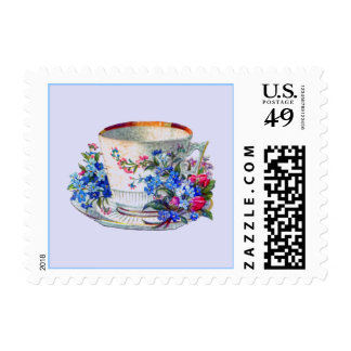 Cute Victorian Teacup and Flowers Postage Stamp