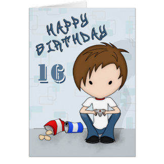 Cute Video Game Playing Emo Boy Birthday Card