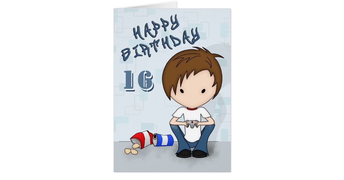 Cute Video Game Playing Emo Boy Birthday Card – Emo Birthday Cards