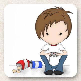 Cute Video Game Playing Emo Boy Cartoon Beverage Coasters