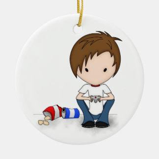 Cute Video Game Playing Emo Boy Cartoon Ceramic Ornament