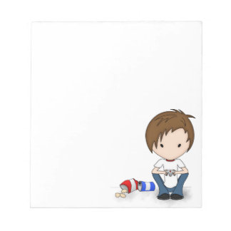 Cute Video Game Playing Emo Boy Cartoon Notepad