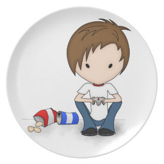 Cute Video Game Playing Emo Boy Cartoon Plate