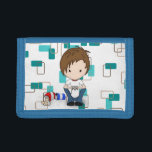 """Cute Video Game Playing Emo Boy Cartoon Tri-fold Wallet<br><div class=""""desc"""">A fun design for young boys who enjoy playing video games. A cute little chibi style male with brown hair, wearing a white t-shirt and jeans sits on the floor with a video game controller in his hands. Beside him is an empty soda pop can and bag of potato chips....</div>"""
