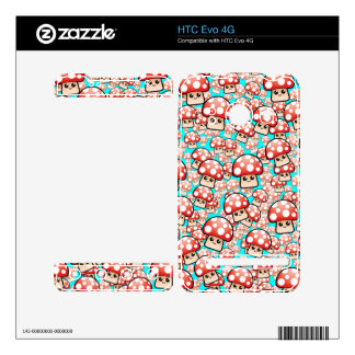 Cute Videogame Mushrooms Vector editable Skins For The HTC Evo 4G