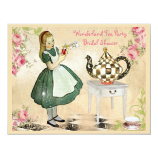 Cute Vintage Alice in Wonderland Bridal Shower Card