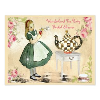 Cute Vintage Alice in Wonderland Bridal Shower Invitation