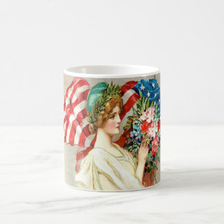 CUTE VINTAGE,AMERICAN FLAG COFFEE MUG