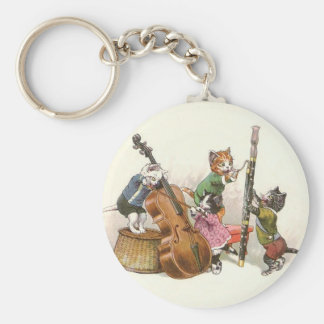 Cute Vintage Anthropomorphic Cats Playing Music Basic Round Button Keychain