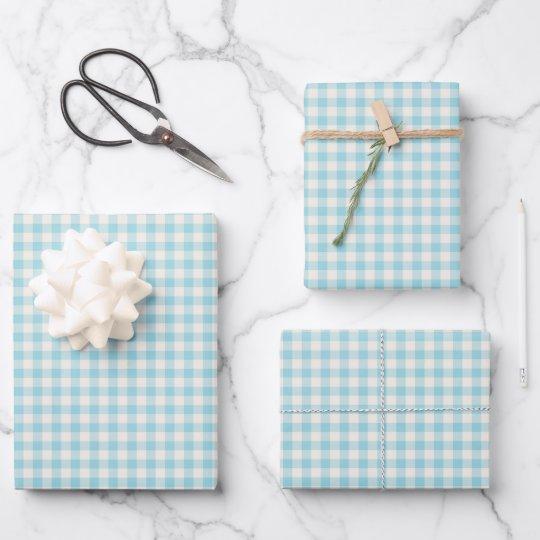 Cute Vintage Aqua Blue Gingham Plaid Pattern Wrapping Paper Sheets
