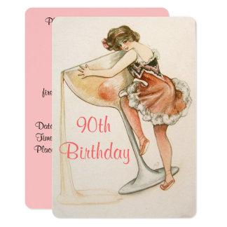 Cute, Vintage Art, 90th Birthday Invitation