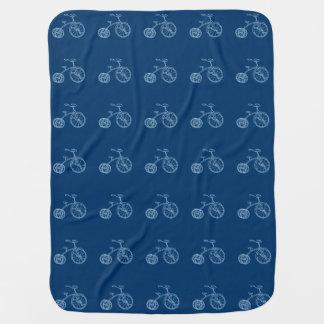 Cute Vintage Baby Blue Tricycle Receiving Blanket