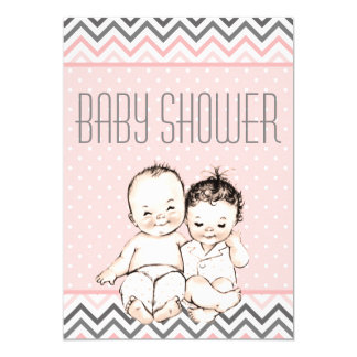 Cute Vintage Baby Brother and Sister Baby Shower Card