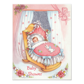 Cute Vintage Baby Girl in Crib Pink Baby Shower 4.25x5.5 Paper Invitation Card