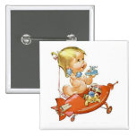 Cute Vintage Baby on the Telephone Pinback Buttons