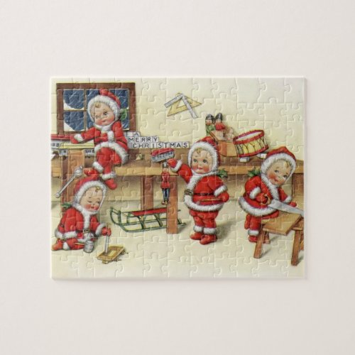 Cute Vintage Baby Santa Illustration Jigsaw Puzzle