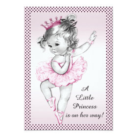 Cute Vintage Ballerina Princess Baby Shower 5x7 Paper Invitation Card