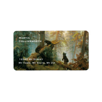 Cute Vintage Bear Cubs in a Forest Label
