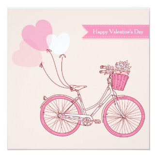 "Cute Vintage Bicycle Happy Valentine's Day 5.25"" Square Invitation Card"