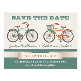 "Cute Vintage Bicycles Retro Style Save the Date 4.25"" X 5.5"" Invitation Card"