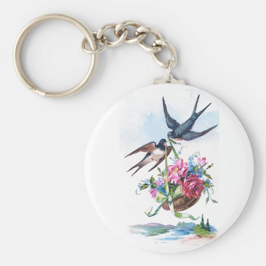 Cute Vintage Birds & Flowers Floral Keychain