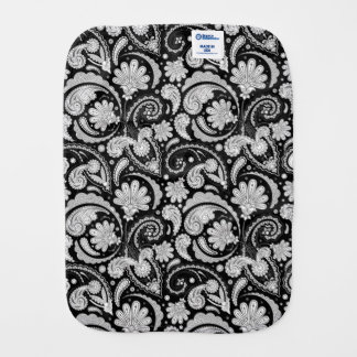 Cute vintage black white paisley patterns baby burp cloth