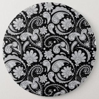 Cute vintage black white paisley patterns button
