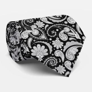 Cute vintage black white paisley patterns tie