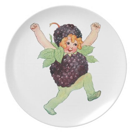 Cute Vintage Blackberry Girl Plate