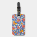 Cute Vintage Blue and Coral Girly Retro Floral Tags For Luggage