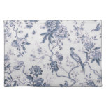 Cute Vintage Blue And White Bird Floral Cloth Placemat
