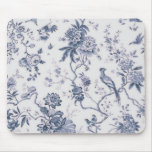Cute Vintage Blue And White Bird Floral Mouse Pad