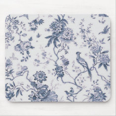 Cute Vintage Blue And White Bird Floral Mouse Pad at Zazzle