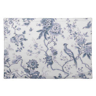 Cute Vintage Blue And White Bird Floral Placemat