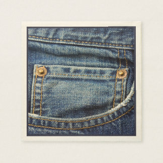 Cute Vintage Blue Denim Jeans Pocket Copper Studs Napkin