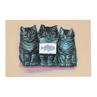 Cute Vintage Blue Kittens Placemat For Cat Bowl Laminated Placemat