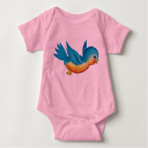 Cute vintage bluebird baby bodysuit