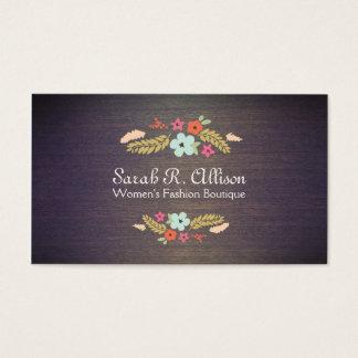 Cute Vintage Boutique Flowers Wood Floral Business Card