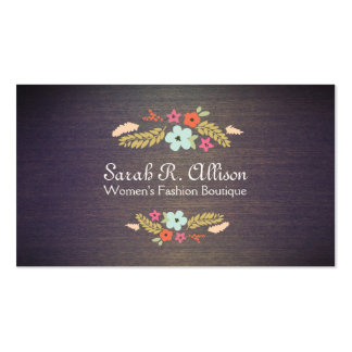 Cute Vintage Boutique Flowers Wood Floral Double-Sided Standard Business Cards (Pack Of 100)