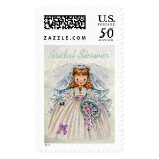 Cute Vintage Bride Retro Bridal Shower Postage