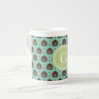 Cute vintage brown green girly ikat tribal pattern tea cup