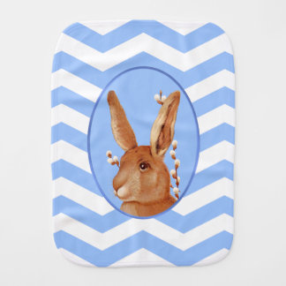 Cute Vintage Bunny and Chevron Pattern Baby Burp Cloth