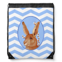 Cute Vintage Bunny and Chevron Pattern Drawstring Bag