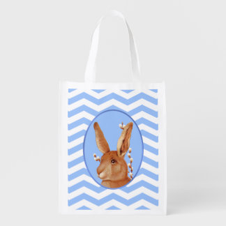 Cute Vintage Bunny and Chevron Pattern Grocery Bags