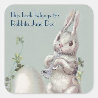 Cute Vintage Bunny Customizable Book Plate Square Sticker