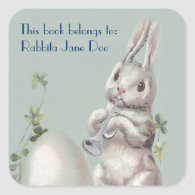 Cute Vintage Bunny Customizable Book Plate Square Stickers