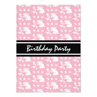Cute Vintage Bunny Rabbit Pattern Pink and White Invitations