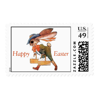 Cute Vintage Bunny Rabbit with Easter Egg Basket Postage