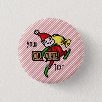 Cute Vintage Candy Christmas Elf Customizable Button