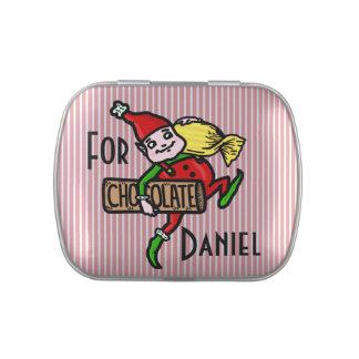 Cute Vintage Candy Christmas Elf Customizable Candy Tin